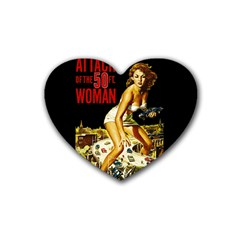 Attack Of The 50 Ft Woman Heart Coaster (4 Pack)  by Valentinaart