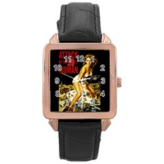 Attack Of The 50 Ft Woman Rose Gold Leather Watch  by Valentinaart
