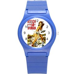 Attack Of The 50 Ft Woman Round Plastic Sport Watch (s) by Valentinaart