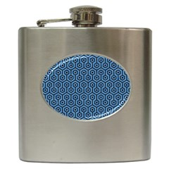 Hexagon1 Black Marble & Blue Colored Pencil (r) Hip Flask (6 Oz) by trendistuff