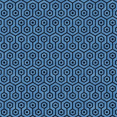 Hexagon1 Black Marble & Blue Colored Pencil (r) Magic Photo Cube by trendistuff