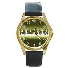 Tropical Sunset Round Gold Metal Watch by Valentinaart
