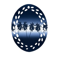 Tropical Sunset Ornament (oval Filigree) by Valentinaart