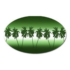Tropical Sunset Oval Magnet by Valentinaart