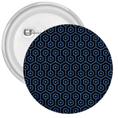 Hexagon1 Black Marble & Blue Colored Pencil 3  Button by trendistuff