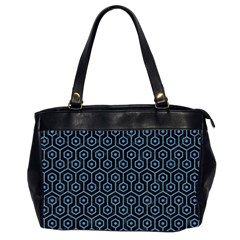 Hexagon1 Black Marble & Blue Colored Pencil Oversize Office Handbag (2 Sides) by trendistuff
