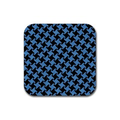 Houndstooth2 Black Marble & Blue Colored Pencil Rubber Square Coaster (4 Pack) by trendistuff