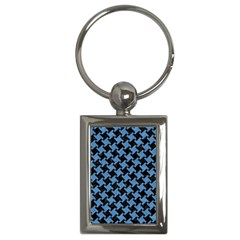 Houndstooth2 Black Marble & Blue Colored Pencil Key Chain (rectangle) by trendistuff