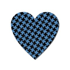 Houndstooth2 Black Marble & Blue Colored Pencil Magnet (heart)