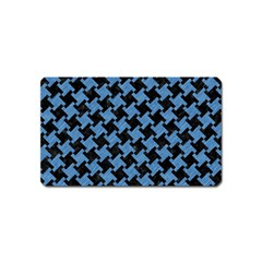 Houndstooth2 Black Marble & Blue Colored Pencil Magnet (name Card) by trendistuff
