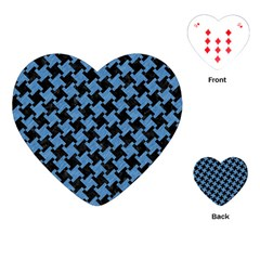 Houndstooth2 Black Marble & Blue Colored Pencil Playing Cards (heart) by trendistuff
