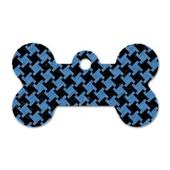 Houndstooth2 Black Marble & Blue Colored Pencil Dog Tag Bone (one Side) by trendistuff