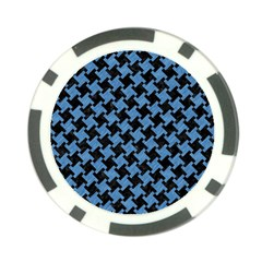 Houndstooth2 Black Marble & Blue Colored Pencil Poker Chip Card Guard by trendistuff