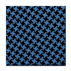 Houndstooth2 Black Marble & Blue Colored Pencil Face Towel by trendistuff