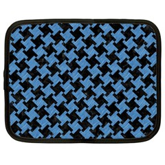 Houndstooth2 Black Marble & Blue Colored Pencil Netbook Case (xxl) by trendistuff
