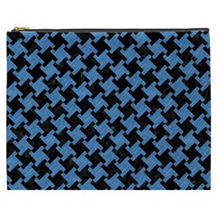 Houndstooth2 Black Marble & Blue Colored Pencil Cosmetic Bag (xxxl) by trendistuff