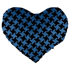 Houndstooth2 Black Marble & Blue Colored Pencil Large 19  Premium Flano Heart Shape Cushion by trendistuff