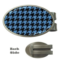 Houndstooth1 Black Marble & Blue Colored Pencil Money Clip (oval) by trendistuff