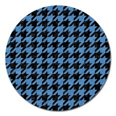Houndstooth1 Black Marble & Blue Colored Pencil Magnet 5  (round) by trendistuff