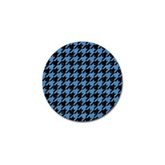 Houndstooth1 Black Marble & Blue Colored Pencil Golf Ball Marker (4 Pack) by trendistuff