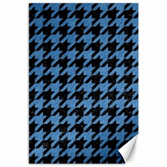 Houndstooth1 Black Marble & Blue Colored Pencil Canvas 12  X 18  by trendistuff