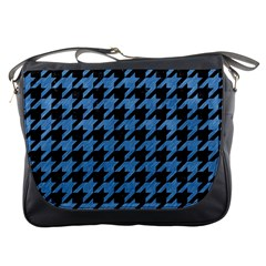 Houndstooth1 Black Marble & Blue Colored Pencil Messenger Bag by trendistuff