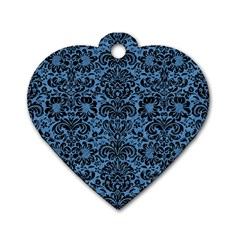 Damask2 Black Marble & Blue Colored Pencil (r) Dog Tag Heart (one Side) by trendistuff