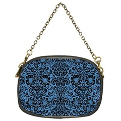 Damask2 Black Marble & Blue Colored Pencil (r) Chain Purse (one Side) by trendistuff