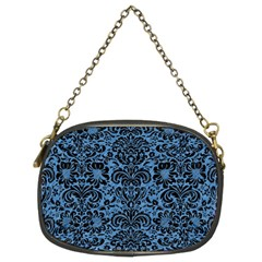 Damask2 Black Marble & Blue Colored Pencil (r) Chain Purse (two Sides) by trendistuff