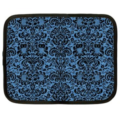 Damask2 Black Marble & Blue Colored Pencil (r) Netbook Case (xxl) by trendistuff