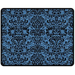 Damask2 Black Marble & Blue Colored Pencil (r) Fleece Blanket (medium) by trendistuff