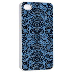 Damask2 Black Marble & Blue Colored Pencil (r) Apple Iphone 4/4s Seamless Case (white) by trendistuff