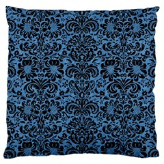 Damask2 Black Marble & Blue Colored Pencil (r) Large Cushion Case (two Sides) by trendistuff
