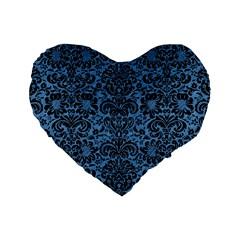 Damask2 Black Marble & Blue Colored Pencil (r) Standard 16  Premium Heart Shape Cushion  by trendistuff