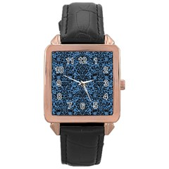 Damask2 Black Marble & Blue Colored Pencil (r) Rose Gold Leather Watch  by trendistuff