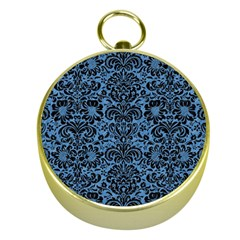 Damask2 Black Marble & Blue Colored Pencil (r) Gold Compass by trendistuff