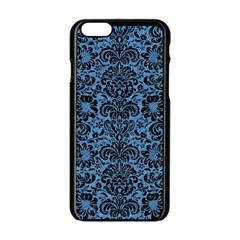 Damask2 Black Marble & Blue Colored Pencil (r) Apple Iphone 6/6s Black Enamel Case by trendistuff