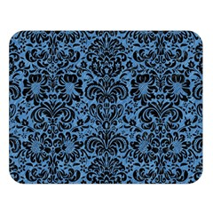 Damask2 Black Marble & Blue Colored Pencil (r) Double Sided Flano Blanket (large) by trendistuff
