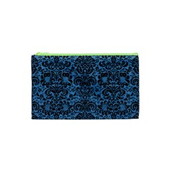 Damask2 Black Marble & Blue Colored Pencil (r) Cosmetic Bag (xs) by trendistuff