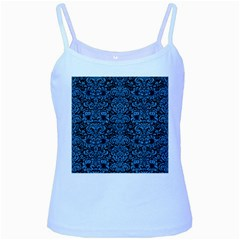 Damask2 Black Marble & Blue Colored Pencil Baby Blue Spaghetti Tank by trendistuff