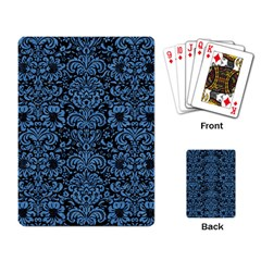 Damask2 Black Marble & Blue Colored Pencil Playing Cards Single Design by trendistuff
