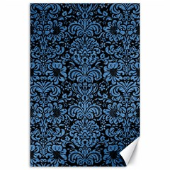 Damask2 Black Marble & Blue Colored Pencil Canvas 24  X 36  by trendistuff