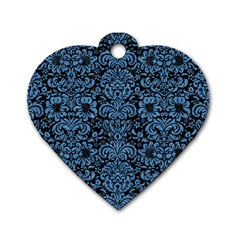 Damask2 Black Marble & Blue Colored Pencil Dog Tag Heart (one Side) by trendistuff