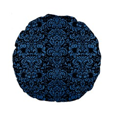 Damask2 Black Marble & Blue Colored Pencil Standard 15  Premium Round Cushion  by trendistuff