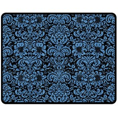 Damask2 Black Marble & Blue Colored Pencil Double Sided Fleece Blanket (medium) by trendistuff