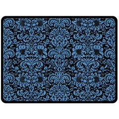 Damask2 Black Marble & Blue Colored Pencil Double Sided Fleece Blanket (large) by trendistuff