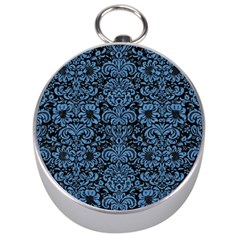 Damask2 Black Marble & Blue Colored Pencil Silver Compass by trendistuff