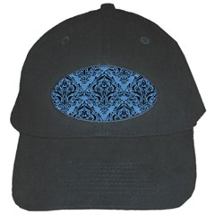 Damask1 Black Marble & Blue Colored Pencil (r) Black Cap by trendistuff