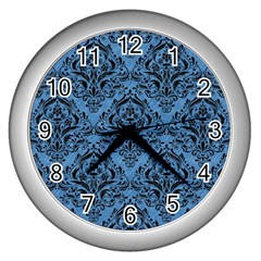Damask1 Black Marble & Blue Colored Pencil (r) Wall Clock (silver) by trendistuff