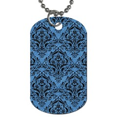 Damask1 Black Marble & Blue Colored Pencil (r) Dog Tag (one Side) by trendistuff